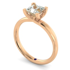 HRP387 Princess Solitaire Diamond Ring - rose
