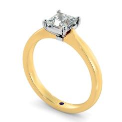 HRP423  Four Prongs Princess cut Solitaire Diamond Ring - yellow