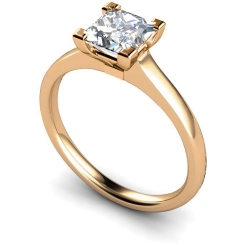 HRP493 Princess Solitaire Diamond Ring - rose