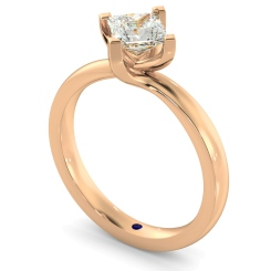 HRP572 Crossover Setting Princess cut Solitaire Diamond Ring - rose