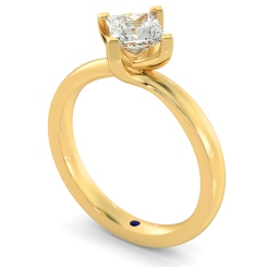 HRP572 Crossover Setting Princess cut Solitaire Diamond Ring - yellow