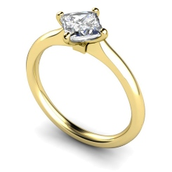 HRP592 Four Claw Princess cut Solitaire Diamond Ring - yellow