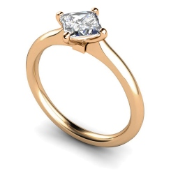 HRP592 Four Claw Princess cut Solitaire Diamond Ring - rose