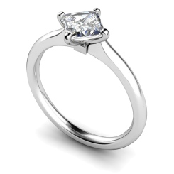 HRP592 Four Claw Princess cut Solitaire Diamond Ring - white