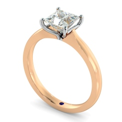 HRP595 Four Claw Princess cut Solitaire Diamond Ring - rose
