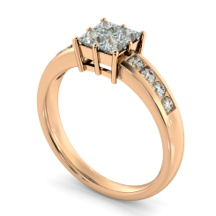 HRPCL894 Four Princess cut Cluster with Side Stones Diamond Ring - rose