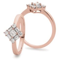 HRPCL934 Princess cut Centre Twisted Square Cluster DIamond Ring - rose