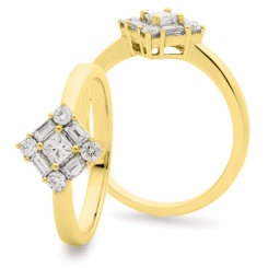 HRPCL934 Princess cut Centre Twisted Square Cluster DIamond Ring - yellow