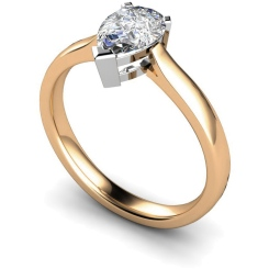 HRPE275 Pear Solitaire Diamond Ring - rose