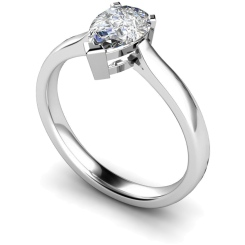 HRPE275 Pear Solitaire Diamond Ring - white