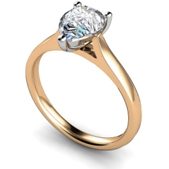 HRPE344 Pear Solitaire Diamond Ring - rose