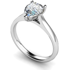 HRPE344 Pear Solitaire Diamond Ring - white