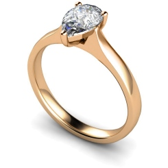 HRPE380 Pear Solitaire Diamond Ring - rose