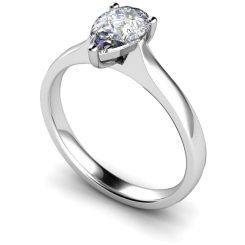 HRPE380 Pear Solitaire Diamond Ring - white