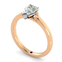 HRPE442 Pear Solitaire Diamond Ring - rose