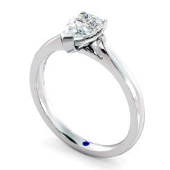 HRPE442 Pear Solitaire Diamond Ring - white