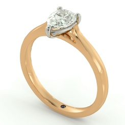 HRPE443 Pear Solitaire Diamond Ring - rose