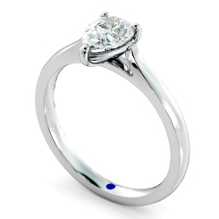 HRPE443 Pear Solitaire Diamond Ring - white