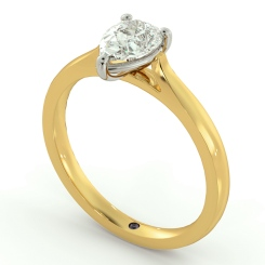 HRPE443 Pear Solitaire Diamond Ring - yellow