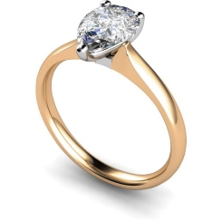 HRPE458 Pear Solitaire Diamond Ring - rose
