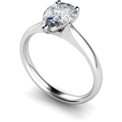 HRPE458 Pear Solitaire Diamond Ring - white