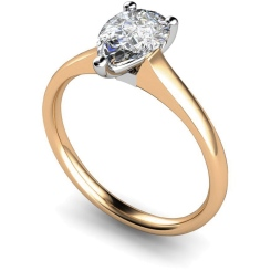 HRPE461 Pear Solitaire Diamond Ring - rose