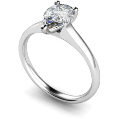 HRPE461 Pear Solitaire Diamond Ring - white