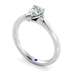 HRPE462 Pear Solitaire Diamond Ring - white