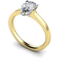 HRPE464 Pear Solitaire Diamond Ring - yellow