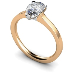 HRPE464 Pear Solitaire Diamond Ring - rose