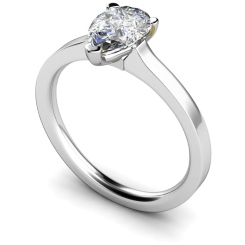 HRPE464 Pear Solitaire Diamond Ring - white