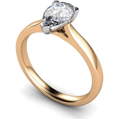 HRPE531 Pear Solitaire Diamond Ring - rose