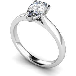 HRPE531 Pear Solitaire Diamond Ring - white