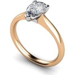 HRPE532 Pear Solitaire Diamond Ring - rose