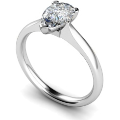 HRPE532 Pear Solitaire Diamond Ring - white