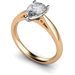 HRPE565 Pear Solitaire Diamond Ring - rose