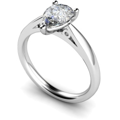 HRPE565 Pear Solitaire Diamond Ring - white