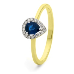 HRPEGBS1051 Pear Shaped Blue Sapphire Halo Gemstone Ring - yellow