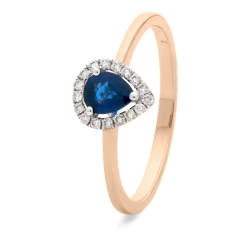 HRPEGBS1051 Pear Shaped Blue Sapphire Halo Gemstone Ring - rose