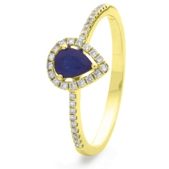 HRPEGBS1053 Pear Shaped Blue Sapphire Shoulder Halo Ring - yellow