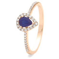 HRPEGBS1053 Pear Shaped Blue Sapphire Shoulder Halo Ring - rose