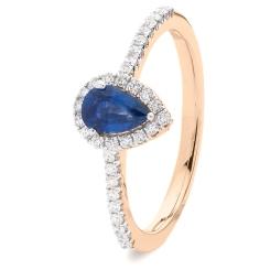 HRPEGBS1055 Pear Blue Sapphire Designer Shank Halo Ring - rose