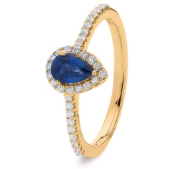 HRPEGBS1055 Pear Blue Sapphire Designer Shank Halo Ring - rose