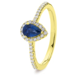 HRPEGBS1055 Pear Blue Sapphire Designer Shank Halo Ring - yellow