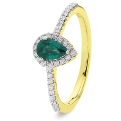 HRPEGEM1056 Pear Emerald Designer Shank Halo Ring - yellow