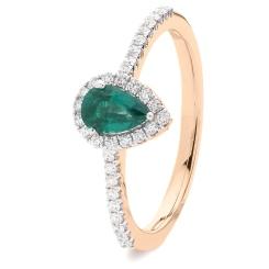 HRPEGEM1056 Pear Emerald Designer Shank Halo Ring - rose