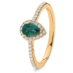 HRPEGEM1056 Pear Emerald Designer Shank Halo Ring - rose