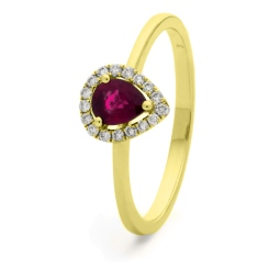HRPEGRY1052 Pear Shaped Ruby Halo Gemstone Ring - yellow