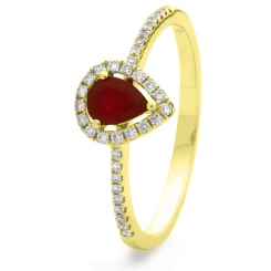 HRPEGRY1054 Pear Shaped Ruby Shoulder Halo Ring - yellow