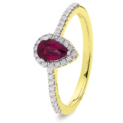 HRPEGRY1057 Pear Ruby Gemstone Designer Shank Halo Ring - yellow